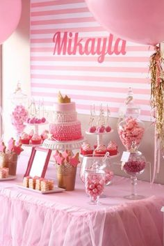 50 Birthday Party Ideas For Girls. Throw the perfect Girl Birthday Party with all of these great ideas! Perfect for any girl in your life from 1 to - Girl Party Ideas - The Best Girl Birthday Parties Pink And Gold Birthday Party, First Birthday Parties, Cake Birthday, Birthday Ideas, 1st Birthdays, Pink Gold Party, Dessert Table Birthday, Birthday Display, Pink Parties