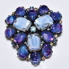 Vintage ALICE CAVINESS Purple & Blue Givre Glass Cabochon Rhinestone Brooch #AliceCaviness