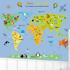 Utazás a világ körül térképes falmatrica gyerekszobában.  #térkép #föld #világ…