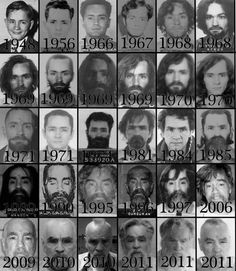 Charles Manson through time. interesting to have a yearly pic of the man.?