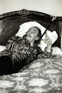 Salvador Dali by Helmut Newton in Hôtel Meurice, Paris, 1973.