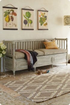 I like the prints on the wall and how they are hung. Daybed is pretty too.