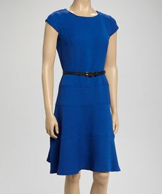 Another great find on #zulily! Royal Blue Cap-Sleeve Belted Dress by Sharagano #zulilyfinds