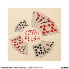 Poker Hands - Royal Flush Wood Wall Art