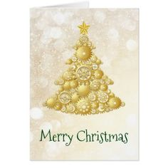 Steampunk Gears Gold Christmas Tree Card - click/tap to personalize and buy