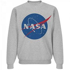 NASA Logo Grey Sweater: Unisex Jerzees Crewneck Sweatshir...