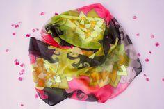 Silk Scarf Hand painted Infinity Sunflowers by ArtStudioInfinity