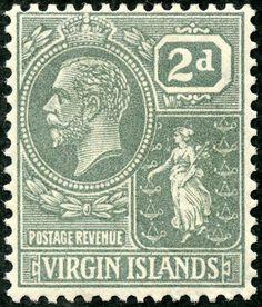 "British Virgin Islands  1922 Scott 58 2d gray ""Colony Seal"" Wmk 4"