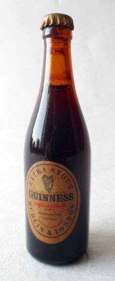 Vintage Bar Ware Advertising Miniature Mini Extra Stout Guinness Souvenir Glass Bottle Circa 1950s Full Crown Cork Guiness Guinnes #FollowVintage