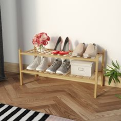 BAMFOX Shoe Rack,Bamboo Stackable Shoe Storage Organizer Unit Entryway in Natural Color