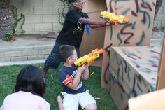 nerf gun party - use boxes for kids to hide behind. Will have lots of boxes after the move! I feel a Nerf bday party coming. Camouflage Party, Camo Party, Nerf Party, Party Party, Army Birthday Parties, Army's Birthday, Birthday Ideas, Inexpensive Birthday Party Ideas, Birthday Gifts