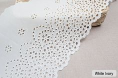 1Yds Embroidery scalloped cotton eyelet lace White by Laceking