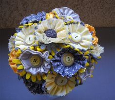 Yellow and Gray Button Wedding Bridal Bouquet Fabric Satin Lace