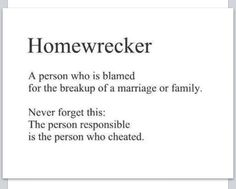 It is the responsibility of the cheater not the other person except, that other person is liable as he/she knew that there was a family behind the relationship that they could care less about. Thus the saying homewrecker