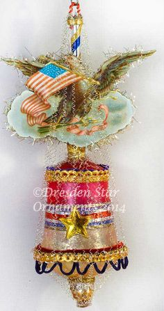 Gorgeous Patriotic Eagle on Antique Glass Bell DR7S322