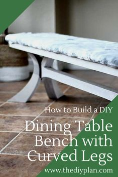 After building a dining table for our breakfast area, I've built and created plans for a DIY Dining Table Bench with Curved Legs. I took the same leg design from the table and scaled it down to about in height and designed the bench to match the table. Diy Furniture Plans, Diy Furniture Projects, Woodworking Projects Diy, Diy Projects, Dining Table With Bench, Diy Table, Home Decor Accessories, Accessories Online, Bridal Accessories