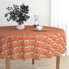 The luxe, heavy cotton sateen Malay tablecloth will elevate your round dining table with one-of-a-kind pattern and color. The Malay tablecloth is made of our durable, wrinkle-resistant, Luxe Cotton Sateen and features a double folded Circular Tablecloths, Round Tablecloth, Black Round Dining Table, Leaf Table, Circle Table, Elegant Table, Interior S, Decoration, Spoonflower