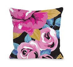 One Bella Casa Rose Florals Throw Pillow