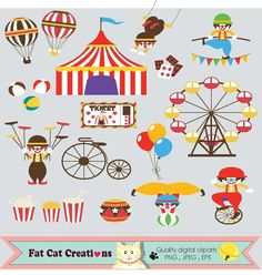 Circus Fun Fair Carnival web graphic elements by FatCatCreation
