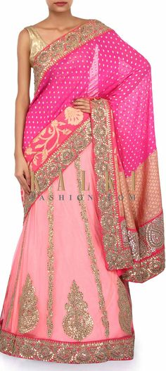 Buy Online from the link below. We ship worldwide (Free Shipping over US$100). Product SKU - 250377. Product Link - http://www.kalkifashion.com/pink-lehenga-saree-adorn-in-gotta-patti-embroidery-only-on-kalki.html