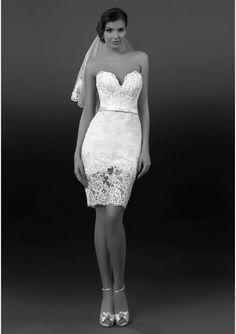 2014 Lace Short V Neck White Ivory Sheath Wedding Dress Bridal Beach GownVeil