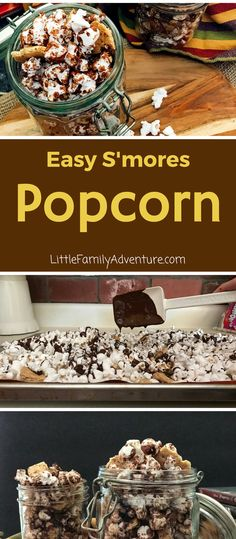 Easy S'mores Popcorn Snack mix - Popcorn drizzled with chocolate topped with more chocolate chips, mini marshmallows, and crushed graham crackers will rock your taste buds! #PopItTopIt #ad @popcorncentral