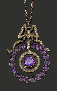 Gem set pendant with a seed pearl bow surmount suspending a hoop of circular-cut amethysts, with a central seed pearl and amethyst drop, stamped '9ct', on a fine belcher-link chain