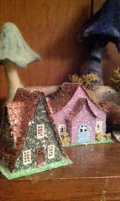 """For ornaments. These are quite small, the largest is just 2.5"""" wide and 2"""" tall. There is hole in the back for a light. Each is covered in glitter and made from posterboard, paint , glitter and glue."""