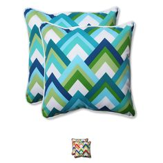 A variety of colors weave boldly allover this set of two plush throw pillows.