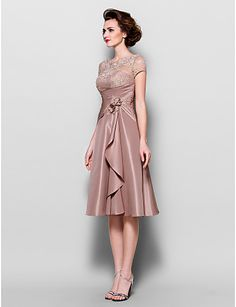 A-line Scalloped Knee-length Lace And Taffeta Mother of the Bride Dresses (1301049) – USD $ 109.99