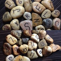 Letters and numbers on rocks. All natural preschool classroom