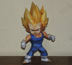 Dragon Ball Z - Vegeta SSJ In Chibi Style - Version 2 - by Paper Juke - == -  This is the second version of Vegeta SSJ In Chibi Style, more one great paper model created by French designer Paper Juke. This model occupies 7 pages and measures 31 cm tall.