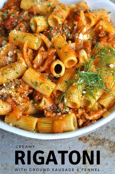 Creamy Rigatoni with ground sausage and fennel via firsthomelovelife.com