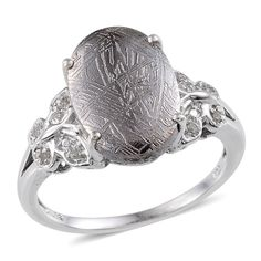 Marvelous Meteorites (Ovl 11.70 Ct), Diamond Ring in Platinum Overlay Sterling Silver Nickel Free (Size 9) TDiaWt 0.050Cts., TGW 11.75 Cts. | Cocktail | Rings | Jewelry | Online Store | Liquidation Channel Site