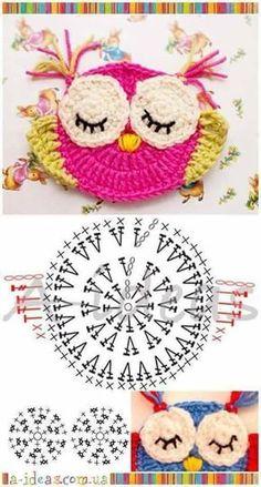 "Diy Crafts - Animais em crochê ""☆ ★ ✭ Aplique de Crochê Bichos - / ☆ ★ ✭ Apply by Crochet Critters -"", ""Wonderful applikashki from les frotte Diy Crochet Owl, Crochet Owl Applique, Marque-pages Au Crochet, Crochet Mignon, Owl Crochet Patterns, Crochet Motifs, Owl Patterns, Crochet Diagram, Crochet Gifts"