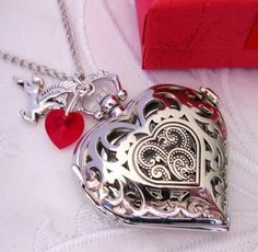 STEAMPUNK - HEART POCKET WATCH - Antiqued Silver Filigree Heart - An 18 Century Reproduction from ETSY