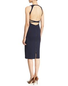Navy Blue Square-Neck Open Back Sheath Dress, Narciso Rodriguez | Neiman Marcus