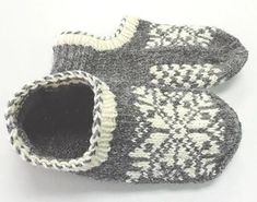 Uppsala Slippers by Ram Wools Yarn Co-op on Ravelry. Free knitting pattern for slippers with a fair isle motif. Knitted Slippers, Knit Mittens, Crochet Slippers, Knit Or Crochet, Knitting Socks, Baby Knitting, Knitting Machine, Knit Socks, Free Knitting
