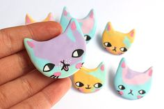 Rainbow Clay Cat Brooch by ponyponypeoplepeople on Etsy