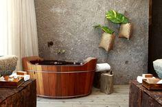 wooden bathtub, hanging interior plants