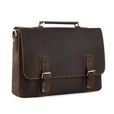 "Kattee Men's Crazy Horse Leather Shoulder Briefcase, 14"" ..."