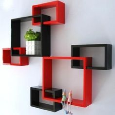 Creative Design Ideas for Wall Shelves - Dekoration wohnung - Shelves Pallet Shelves, Wooden Shelves, Box Shelves, Diy Furniture, Furniture Design, Regal Design, Bedroom Red, Red Bedroom Design, Wall Shelves Design