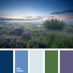A combination of muted shades of blue, green, violet, and more intense cornflower blue. This palette is inclined to pastel shades. Both in clothes and in the interior it can be applied to create a peaceful and harmonious appearance. Perfect for bedrooms, bathrooms, and kitchens.