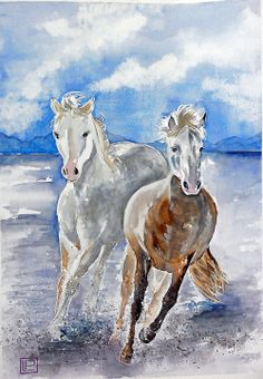 """""""cavalli in fuga"""" acquerello 35x51 di Lorenza Pasquali carta 100% cotone 300gr al mq."""