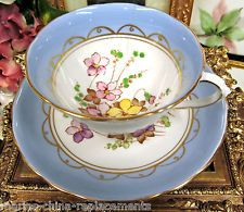 TUSCAN TEA CUP AND SAUCER FLORAL PAINTED BLUE VIOLETS TEACUP A/F