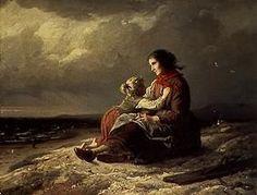 """""""Warten auf die Rückkehr des Fischers"""" von Johann Georg Meyer von Bremen (geboren am 28. Oktober 1813 in Bremen, gestorben am 4. Dezember 1886 in Berlin), bedeutsamer Künstler der klassischen deutschen Genremalerei."""