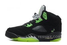 "Big Discount! 66% OFF! Air Jordan 5 Retro ""Quai 54″ Black/Radiant Green Cheap  For Sale Online"