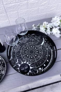 Sky Spirit Serving Tray - Shop Now - us.KILLSTAR.com Tea Cup Saucer, Tea Cups, Goth Home, Secrets Of The Universe, Sun Designs, Round Tray, Circle Shape, Ceramic Cups, Cookies Et Biscuits