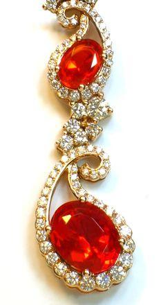☆ * Fashion Accessories ☆ * Detail of LeVian Fire Opal and Diamond Neckpiece Gems Jewelry, Jewelery, Fine Jewelry, Opal Necklace, Earrings, Pendant Set, Red Gold, Crystal Rhinestone, Amethyst