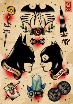 Awesome batman tattoo flash especially the hands/bat signal haha